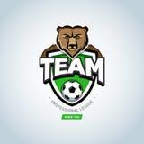 Soccer sport logo. Bear mascot logo. Royalty Free Stock Images