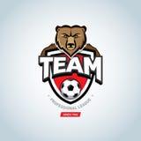 Soccer sport logo. Bear mascot logo. Green soccer football badge logo design template, sport logotype template. Soccer Themed T shirt. Football logo. Vector Royalty Free Stock Image
