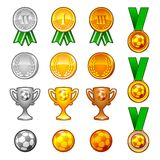 Soccer sport medals and awards set Stock Image
