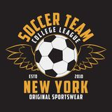 Soccer sports apparel with football ball with wings. Typography emblem for t-shirt. Design for athletic clothes print. Vector. Soccer sports apparel with Royalty Free Stock Images