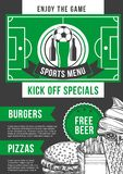 Vector soccer sport bar football pub menu design. Soccer sports bar menu design template for pizza, burgers and beer. Vector ice cream dessert and fries snack Royalty Free Stock Images