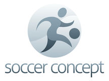 Soccer Sports Concept. Of a stylised figure kicking a football Stock Photo