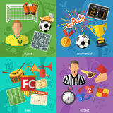 Soccer square Banners. Set with flat icons referee, championship, player and trophy. vector illustration vector illustration