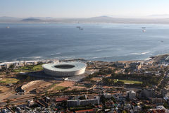 Soccer stadium. The new 2010 world cub soccer stadium in Cape Town, taken from signal hill Royalty Free Stock Photo