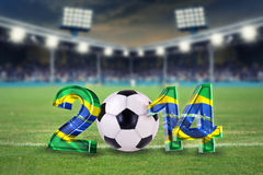Soccer stadium background. Soccer background 2014 with soccer ball and soccer stadium background Stock Photos
