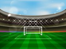 Soccer stadium  banner. Football arena with spotlights, tribunes, soccer goal net and green grass. Stock Images