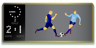 Soccer stadium board with soccer players. Royalty Free Stock Image
