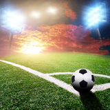 Soccer stadium with bright lights Stock Images