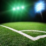 Soccer stadium with bright lights Stock Photo