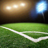 Soccer stadium with bright lights Royalty Free Stock Photography