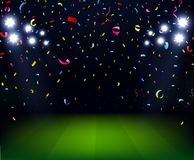 Soccer Stadium celebration with confetti on night Stock Photo