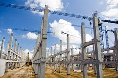Soccer Stadium Construction Site Royalty Free Stock Images
