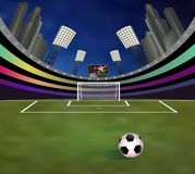 Soccer stadium with detailed goalpost, field and tribunes royalty free stock photo