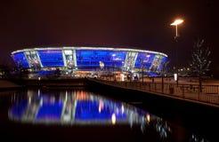 Soccer stadium Donbass-Arena. DONETSK, UKRAINE - FEBRUARY 4: Donbass Arena stadium on February 4, 2012 in Donetsk, Ukraine. One semifinal, one quarterfinal, and Royalty Free Stock Image