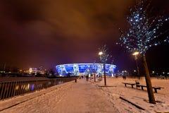 Soccer stadium Donbass-Arena. DONETSK, UKRAINE - FEBRUARY 4: Donbass Arena stadium on February 4, 2012 in Donetsk, Ukraine. One semifinal, one quarterfinal, and Royalty Free Stock Images