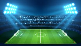 Soccer stadium with empty football field and spotlights vector illustration. Stadium for soccer with green empty field royalty free illustration