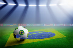 Soccer stadium, flag of Brazil Stock Photos