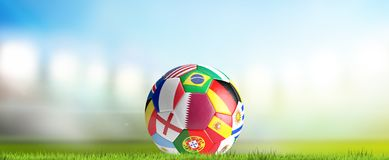 Soccer stadium flood lights with soccer ball Qatar and favorites. 3d rendering design Stock Images