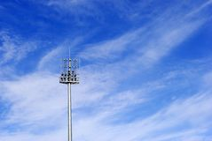 Soccer stadium floodlight Royalty Free Stock Photo