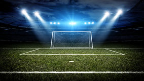 Soccer stadium and goal post. The imaginary soccer stadium and goal post are modelled and rendered Stock Photos