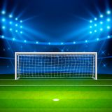 Soccer stadium. Green football field on stadium, arena in night illuminated bright spotlights. Vector illustration.  Royalty Free Stock Image