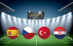 Soccer Stadium with group D team flags. Royalty Free Stock Photography