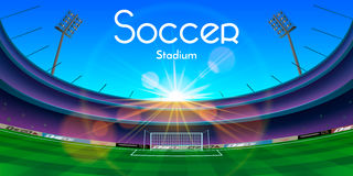 The soccer stadium illustration. The vector illustration of an arena in sunset with soccer stadium text Royalty Free Stock Image