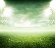 Soccer stadium. The imaginary stadium is modelled and rendered Royalty Free Stock Images