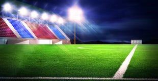 Soccer stadium night Royalty Free Stock Image