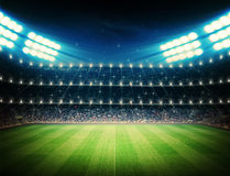 Soccer stadium at night Royalty Free Stock Photography