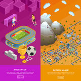 Soccer Stadium Olympic Village Isometric Banners Stock Photos
