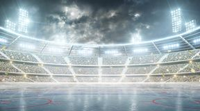 Hockey stadium. Ice hockey arena. Night stadium under the moon with lights, fans and flags. Soccer stadium. Professional sport arena. Night stadium under the stock illustration