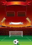 Soccer stadium and scoreboard Royalty Free Stock Image