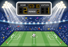 Soccer stadium with scoreboard Royalty Free Stock Photography