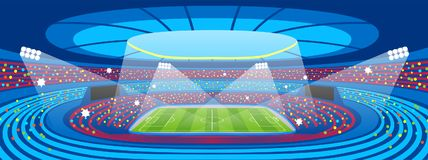 Soccer stadium during sports match. Football arena field.  stock illustration