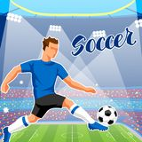 Soccer stadium during sports match. Football arena field Royalty Free Stock Images