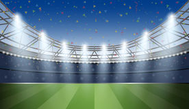 Soccer Stadium with spot light and confetti background. Football Stock Image