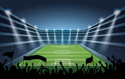 Soccer Stadium with spot lights. Royalty Free Stock Images
