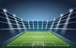 Soccer Stadium with spot lights. Royalty Free Stock Image