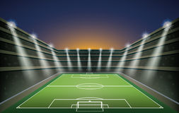 Soccer Stadium with spot lights. Stock Photo