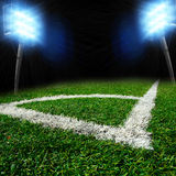 Soccer stadium with thw lights Royalty Free Stock Images