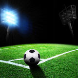 Soccer stadium with thw lights Stock Images
