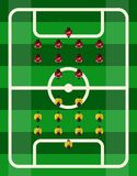 Soccer Stadium Top View. Soccer football stadium court top view competition with sport players vector illustration Stock Photo