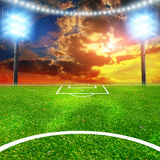 Soccer Stadium With Thw Lights Stock Photography