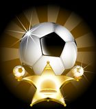 Soccer Star. Triumphant golden shining chair for football star royalty free illustration