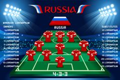 Soccer starting lineup squad vector. Soccer starting lineup squad, football russia world cup 2018 tournament. Champions league team list vector illustration Royalty Free Stock Photo