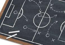 Soccer strategy. On blackboard, close-up Royalty Free Stock Photo
