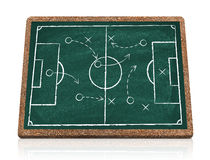Soccer strategy. On blackboard isolated Stock Photography