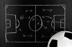 Soccer strategy on a chalkboard with ball. Soccer, football strategy on a chalkboard with ball stock photography