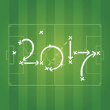 Soccer strategy for goal 2017 green background. Soccer strategy for goal 2017 green field background vector Stock Photo